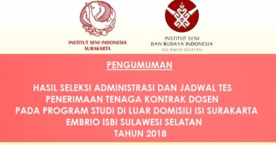 Hasil Seleksi Administrasi Penerimaan Dosen Kontrak PDD ISI Surakarta embrio ISBI Sulawesi Selatan