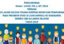Pengumuman Hasil Akhir Seleksi Tenaga Kontrak dan Pramubhakti PDD ISI Surakarta Embrio ISBI Sulawesi Selatan Tahun 2018