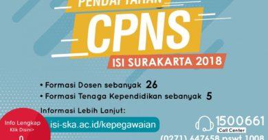 PENGUMUMAN DAN REVISI PENERIMAAN CALON PEGAWAI NEGERI SIPIL (CPNS) INSTITUT SENI INDONESIA SURAKARTA TAHUN 2018