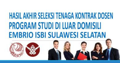 Hasil Akhir Seleksi Tenaga Kontrak Dosen ISBI Makassar Tahun Anggaran 2018