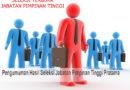Pengumuman Hasil Seleksi Jabatan Pimpinan Tinggi Pratama Kepala Biro Akademik, Kemahasiswaan dan Perencanaan
