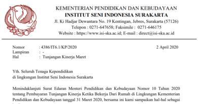 Permohonan Laporan Capaian Kinerja Bulan Maret 2020
