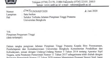 Tawaran Seleksi Jabatan Pimpinan Tinggi Pratama Universitas Bengkulu