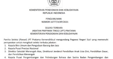 Seleksi Terbuka Jabatan Pimpinan Tinggi (JPT) Pratama Kementerian Pendidikan dan Kebudayaan